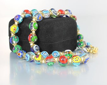 Millefiori Necklace, Italian Murano glass jewelry Hand Knotted 17 inch, Multi color vintage Italy jewelry