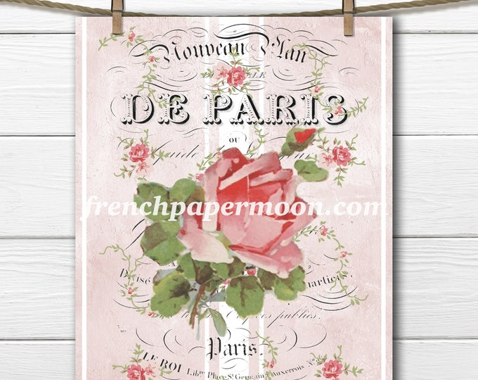 Vintage Shabby Pink Rose Printable, Antique French Typography, Old Fashioned, Instant Download Image Transfer Graphic
