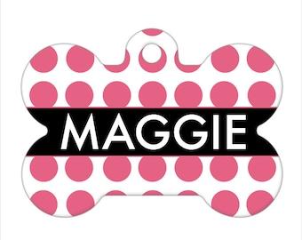 Personalized Pet ID Tag - Maggie Custom Name Dog Bone Pet Tag, Dog Tag