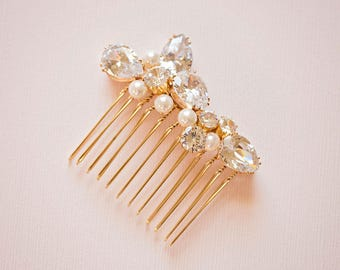 Bridal hair comb, Crystal hair comb, Gold hair comb, Rhinestone hair comb, Gold hair comb, Gold headpiece, Bridal headpiece