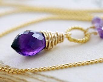 Gold Amethyst Necklace, February Birthstone Necklace, Purple Gemstone Pendant, Wire Wrapped Handmade, aubepine