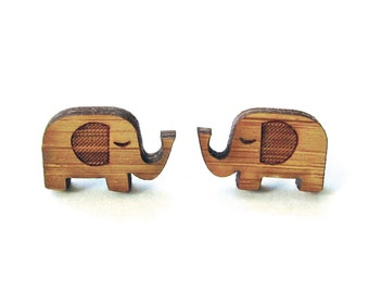 Little Elephants. Elephant Earrings. Wood Earrings. Stud Earrings. Laser Cut Earrings. Bamboo Earrings. Gifts For Her. Gift For Women.  Cute