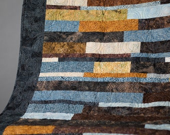 Handmade Quilt Throw or Wall Hanging Blue Gold & Brown Minky Backing 59x77 by Mary Brader #635