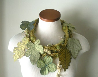 Leaf Scarf- Golden Olive with Citrine, Moss, Peridot, and Olive Green Embroidered Leaves- Fiber Art Scarf