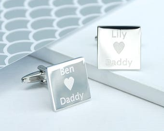 Personalised I Love Daddy Cufflinks, Silver cufflinks, Engraved Box, Gifts for Dad, Daddy Cufflinks, Engraved Chromed Box, Father's Day Gift
