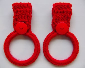 crocheted hanging towel holder set of 2, red kitchen towel ring, hand towel holder, crochet kitchen decor, RV towel holder, towel holders