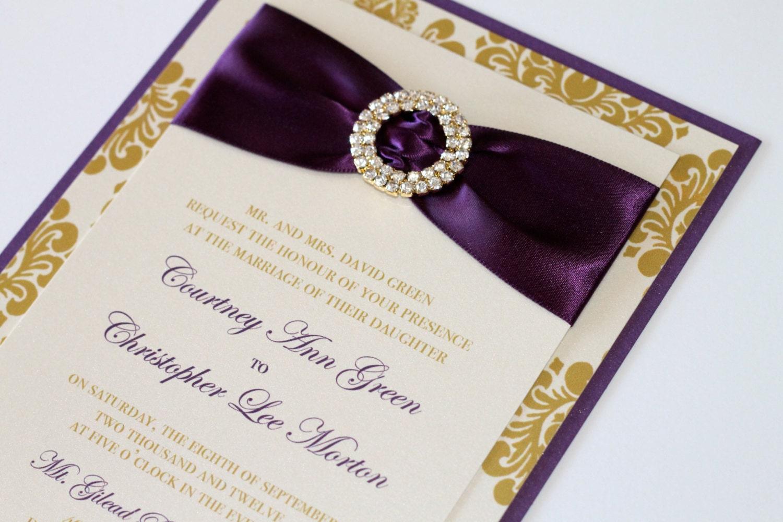 Courtney Damask Wedding Invitation Embellished Wedding