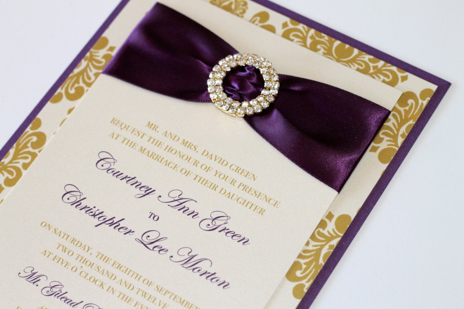 Courtney Damask Wedding Invitation Embellished Wedding