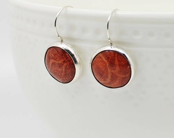 Red Coral Earrings, Red Minimalist Earrings, Coral & Sterling Silver, Round Red Earrings, Contemporary Modern Jewelry, Genuine Coral Gift