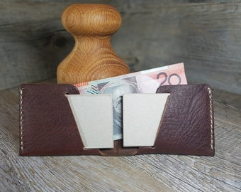 Men's Leather Wallet, Thin Leather Wallet, Bifold Wallet, Men's gift, Minimalistic Wallet, Handmade, Alpha 01