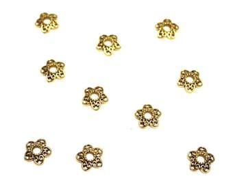 Set of 10 flowers 12 mm antique gold metal bead caps