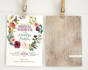 Boho Fall Bridal Shower Invitation, Autumn Floral Wreath Bridal Shower Invitation, Boho Chic Bridal Shower Invite, Envelope Liner