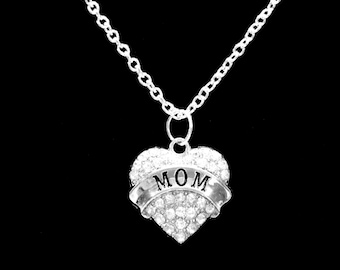Mother Gift, Crystal Heart Mom Necklace, Gift For Mother Charm Necklace