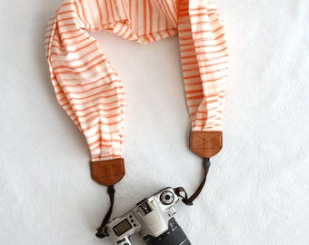 scarf camera strap watercolor stripe peach - BCSCS052