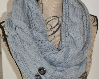 Scarf with Buttons Infinity Women Scarf Long Scarf CHOOSE COLOR Gray Cabled Warm Winter Scarf Women Scarf Christmas Gift under 50