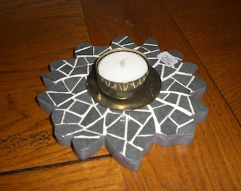 grey flower mosaic candle holder