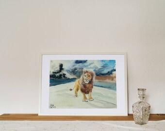Original watercolor, painting, mixed media, lion