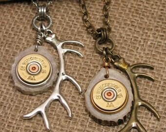 """Shotgun Casing Jewelry - Deer Jewelry - Bullet Jewelry - """"THE RACK"""" Deer Antler Slice and Deer Antler Charm Pendant Necklace"""
