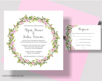 SPRING WEDDING INVITATION Suite, Floral Watercolor Wreath. Green and Pink Wedding Invitation, Garden Wedding, Shabby Chic Wedding, Rustic
