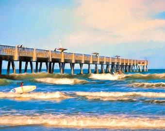 Surf Print, Surfing the Pier, Surfers, Waves, Jacksonville Beach, Pier, Beach Decor, Coastal Decor, Ocean, Beach, Fishing Pier