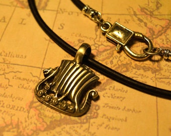Free Shipping, Leather Necklace, Viking Ship, Mens Necklace, Mens Jewelry, Mens Gift, Pendant, Distresed Cord