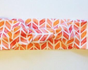 Knotted Headband - Coral Herringbone - Infant Headband - Jersey Knit Headband Organic Headband Organic Baby Headband Watercolor