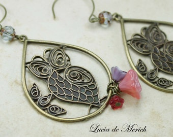 Owl earrings- Owl the perch earrings - romantic owl -coupon code - gift under 20 USD-Cyber monday-Black friday.