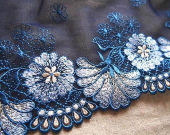 trim, lace, embroidery, black and blue, scalloped, scalloped