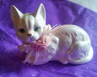 White kitty cat with AB glaze and roses