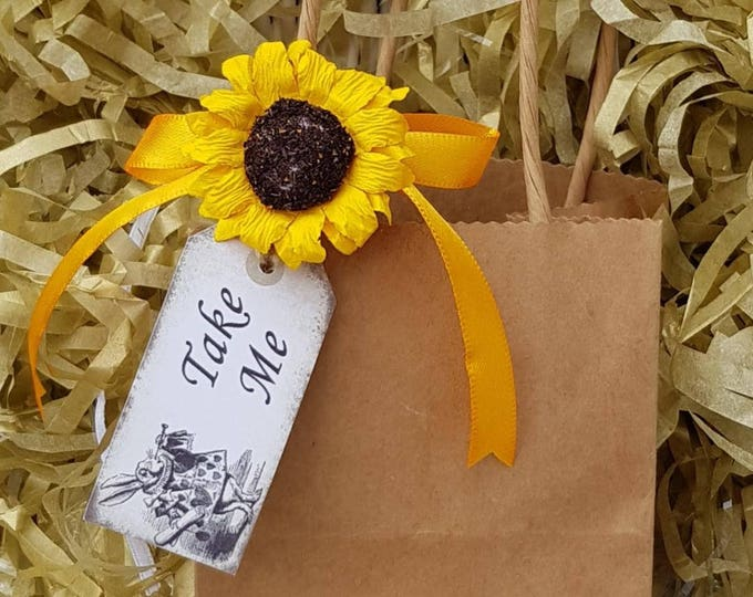 12 Brown favour bags with sunflower gift tag baby shower weddings party bags Alice in Wonderland