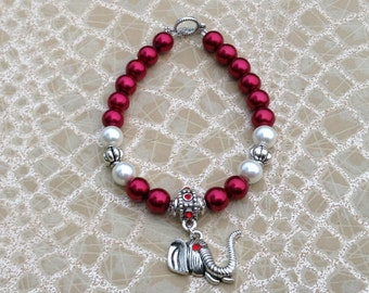 Elephant Charm Bracelet, Delta Sigma Theta Charm Bracelet, Alabama Crimson Tide Bracelet, Beaded Elephant Charm Bracelet, Charm Bracelet