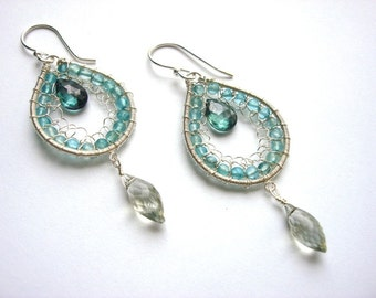 Apatite,Green Amethyst, and Alexandrite Earrings