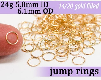 24g 5.0mm ID 6.1mm OD gold filled jump rings  -- goldfill jumprings 14k goldfilled