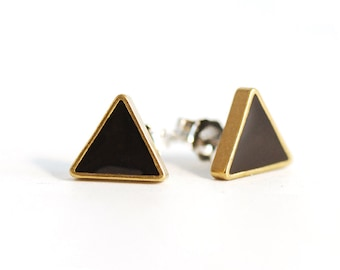 Geometric Triangle Studs in Black and Gold Resin and Brass
