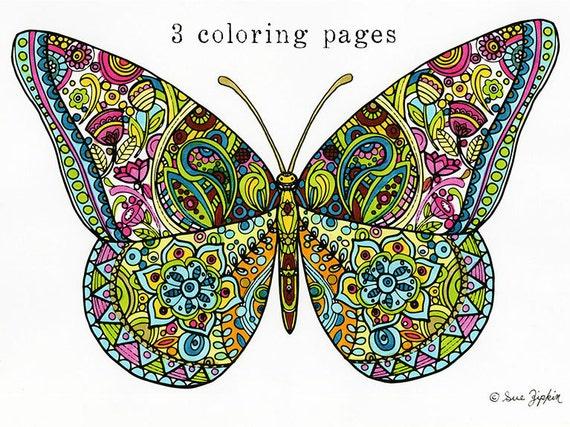 Sue Zipkin Printable Set Of 3 Butterfly Mandala Amp Flower