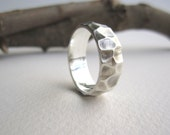Mens Silver Ring-Tree Bark 1, Men's Wedding Band