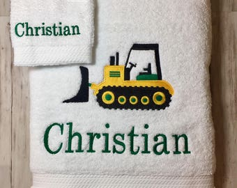 Bath Towel Set, Boys Construction Truck Bath Towel Set, Personalized Towels Boys, Boys embroidered towel Set.