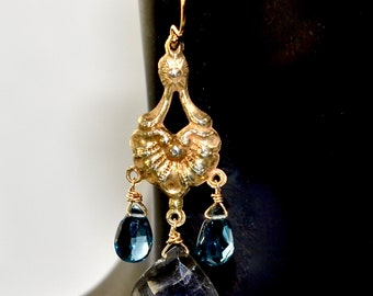 LP 1481 London Blue Topaz, Labradorite Chandelier Earrings