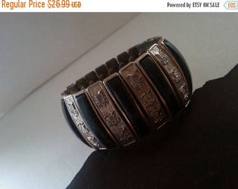 ON SALE Vintage Chunky Wide Expandable Asian Bracelet * Retro Rockabilly Collectible Costume Jewelry * 1960s Mad Men Mod Collectible Costume
