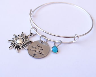 You are My Sunshine Bracelet, sunshine bracelet, bangle bracelet, you are my sunshine, Valentines Day Gift, best friends,