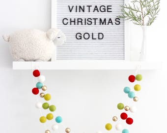 Gold Vintage Christmas Garland- Red, White, Green Gold Garland- Christmas mantle decor-Christmas tree Garland- Xmas Garland- Red White Aqau