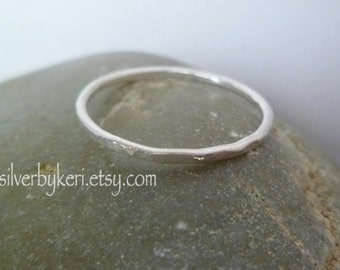 Silver Stacking Ring -  ONE Single Fine Silver Hammered 16 gauge - SKINNY Ring - Stack Stacker
