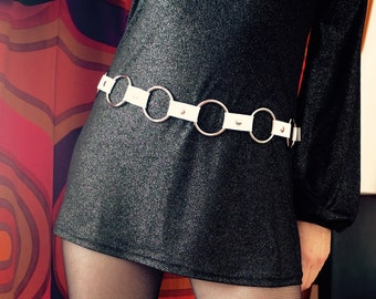 White patent leather and metal belt 60s 70s style Mod