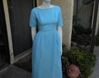 Vintage 1960's Lorrie Deb  Baby Blue Evening Dress - Size 4