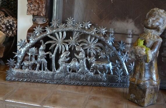 "Tropical Nativity, Recycled Steel, Haiti Metal Wall Art 33"" x 16"""