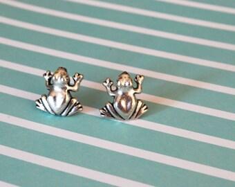Frog Earrings -- Frog Studs, Silver Frog Earrings