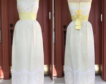 1960s Lace Dress with a Wide Satin Sash and Bow | Vintage Party Gown