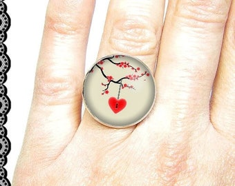 Adjustable ring with cabochon 18 mm * heart * (040617)