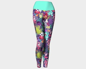 Cat Garden Yoga Pants Purple Turquoise Pink and Lime