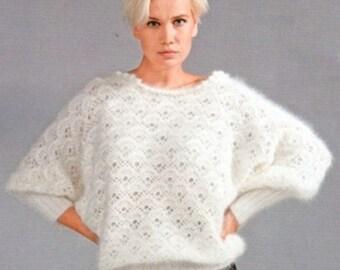 Ladies crochet white mohair sweater / custom order